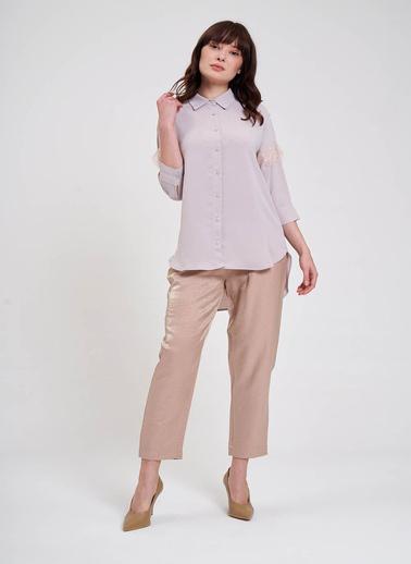 Mizalle Mızalle Dantel Detaylı Gömlek Bluz  Bej